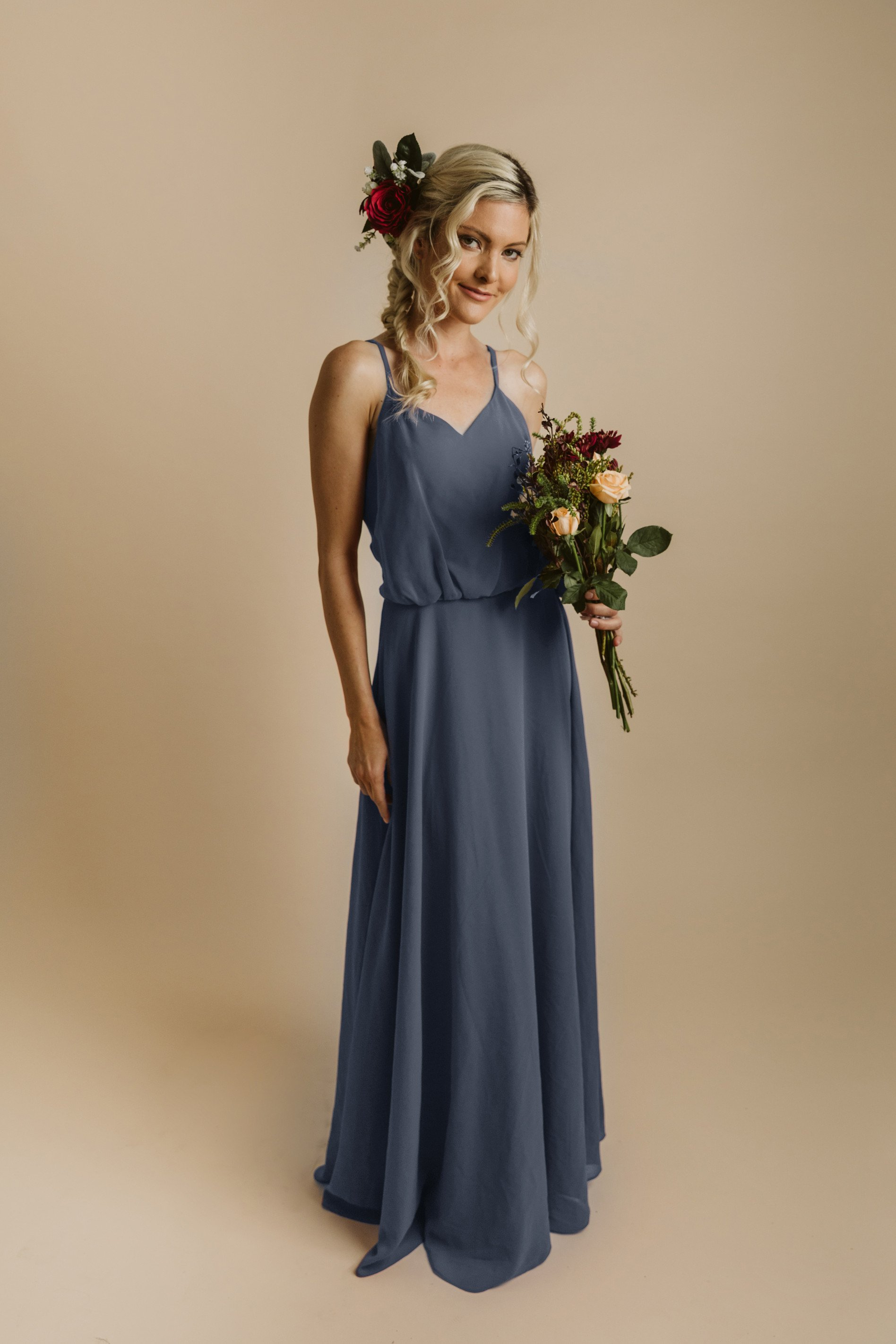 Annabelle Dress in Stone Blue - Baby\'s Breath Bridesmaids