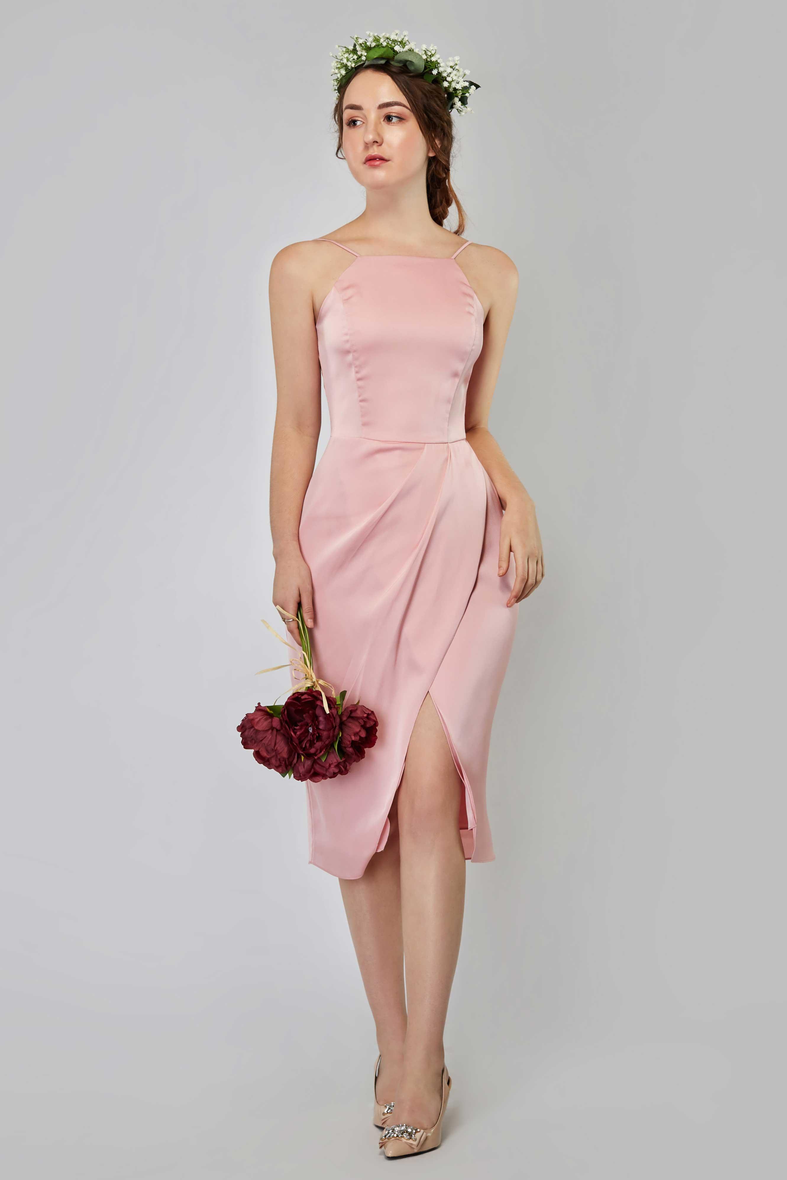 7021d5e5da2a Missha Satin Halter Midi Dress in Baby Blush - Baby s Breath Bridesmaids
