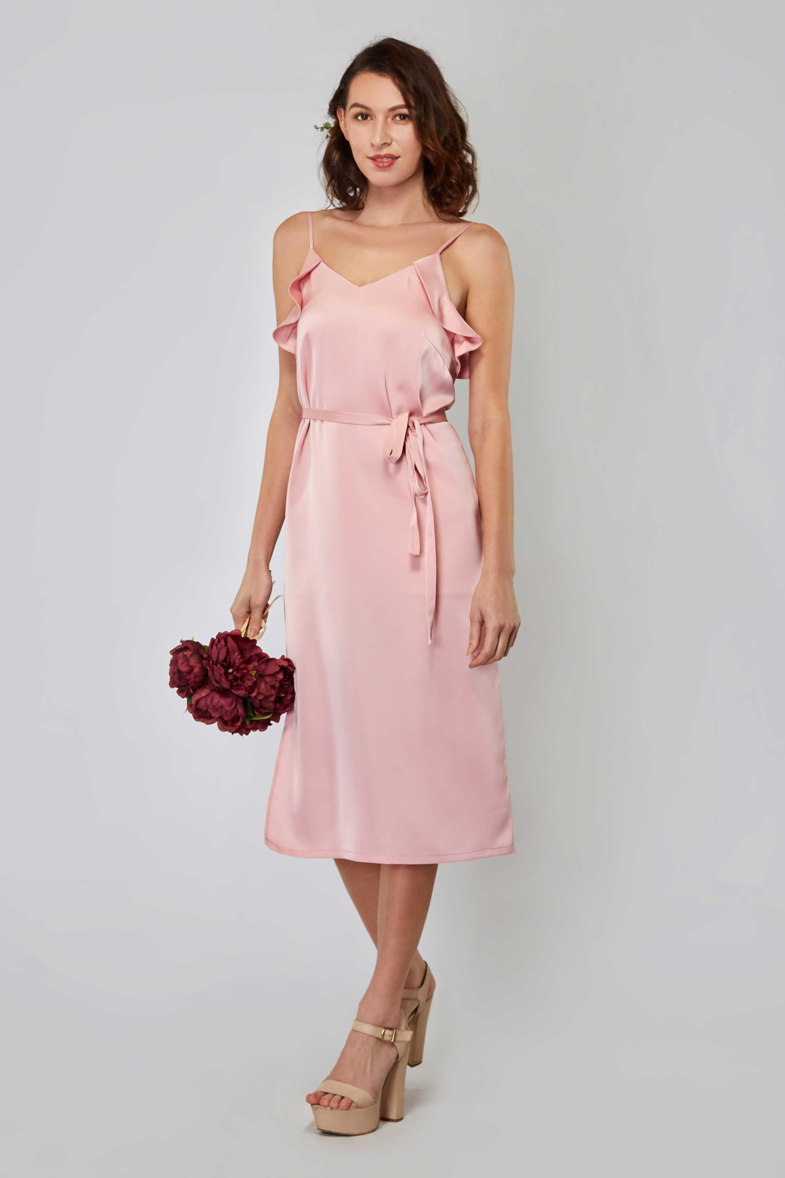 3c61a57e2252 Rita Satin Side Slit Midi Dress in Baby Blush - Baby s Breath Bridesmaids