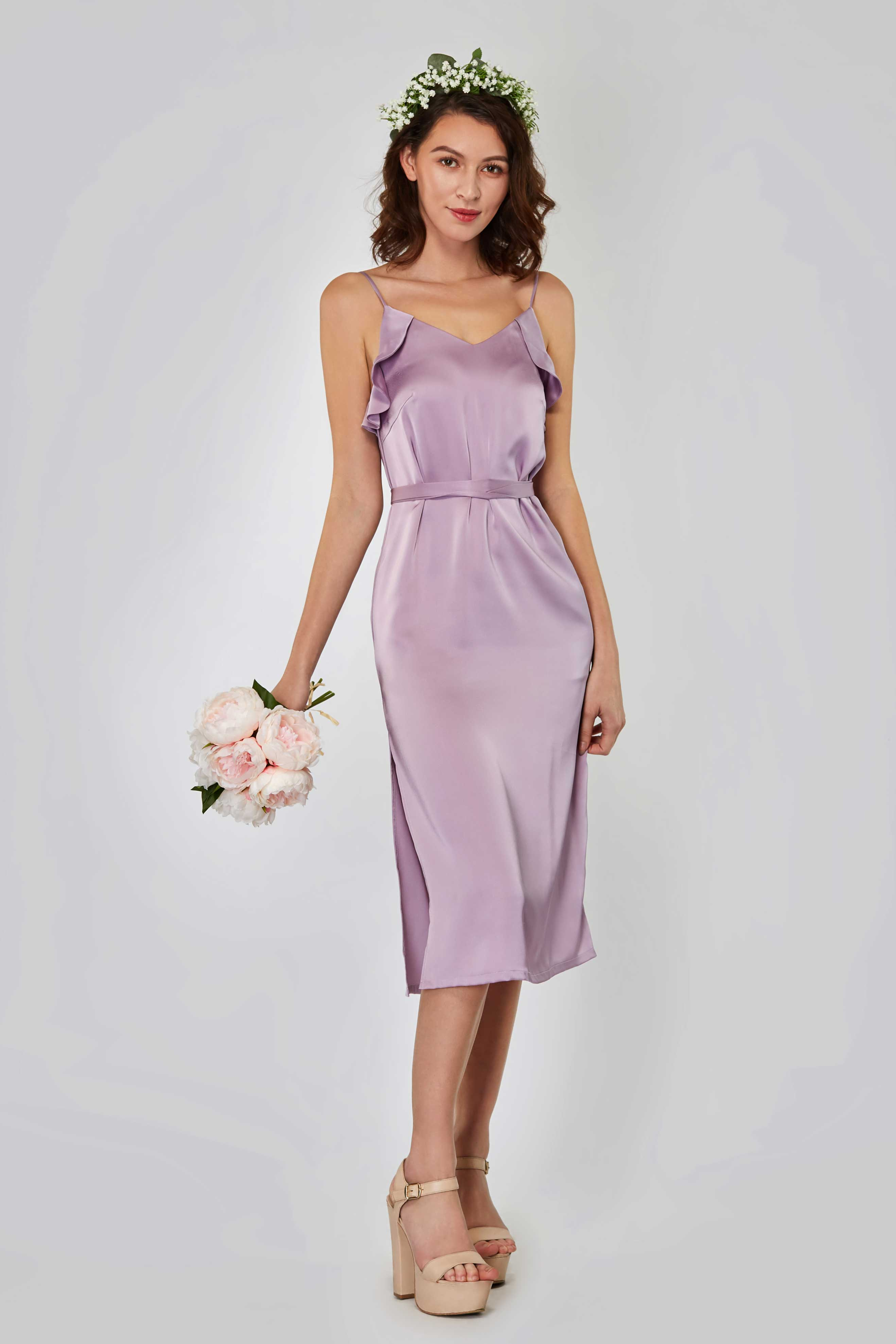 dirt cheap discount sale first rate Rita Satin Midi Dress - Baby's Breath Bridesmaids