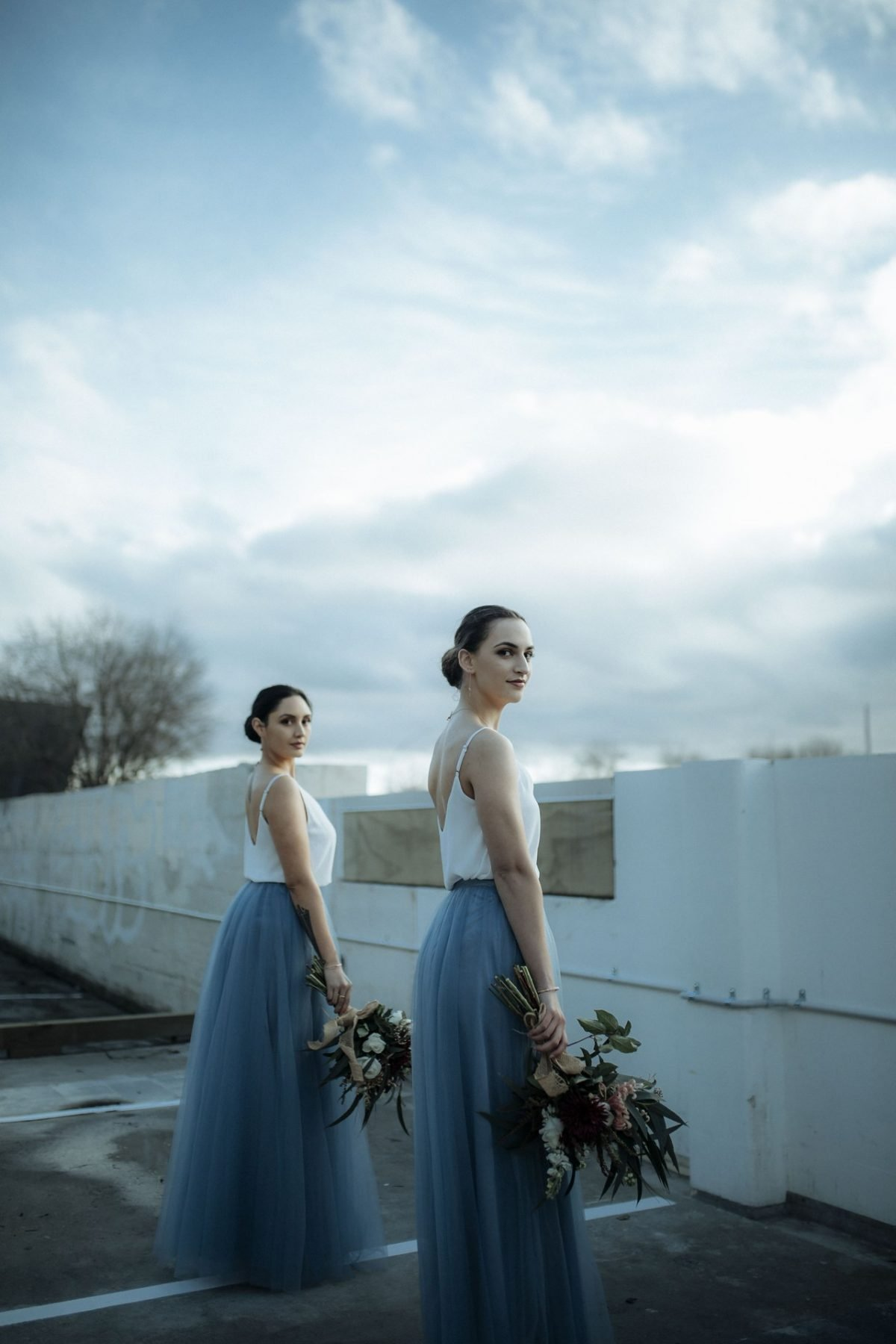 <strong>Featuring:</strong> Petra Chiffon Top and Fleur Tulle Skirt in Slate Blue