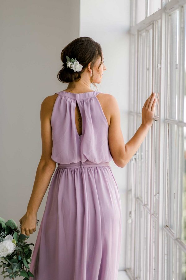 Cora dress in lilac colour close back view