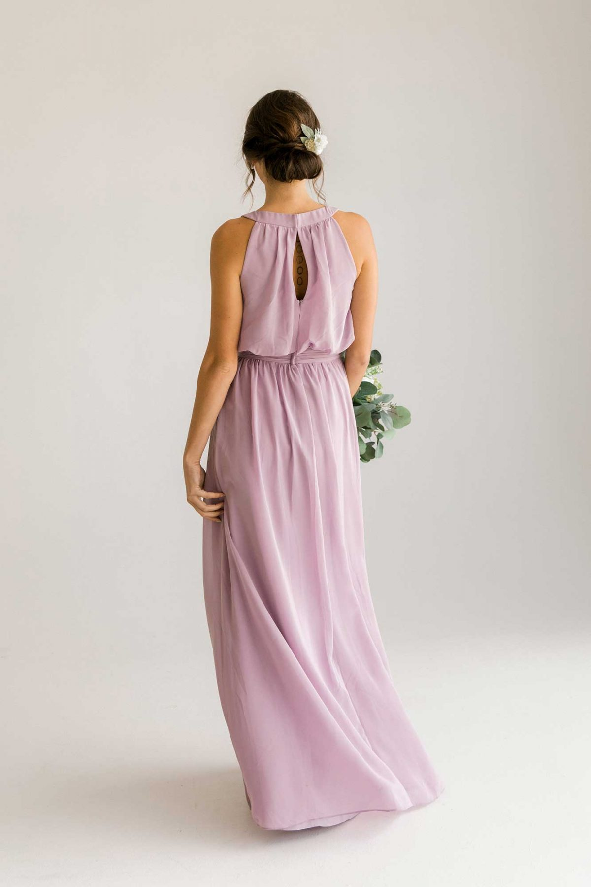 Cora dress in lilac colour back view