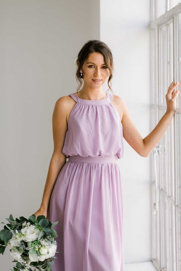 Cora dress in lilac colour close front view