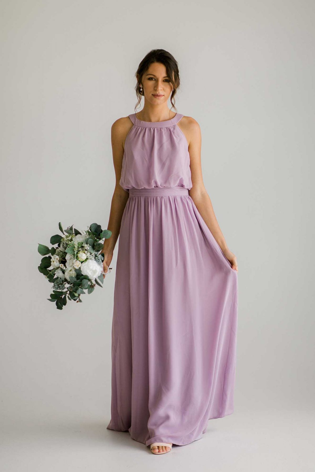 Cora dress in lilac colour front view