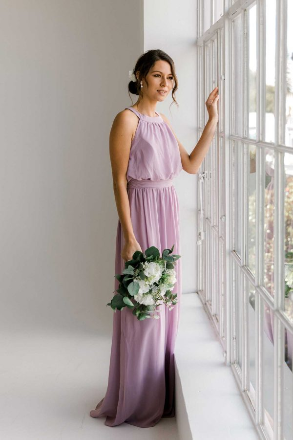 Cora maxi dress in lilac colour front view