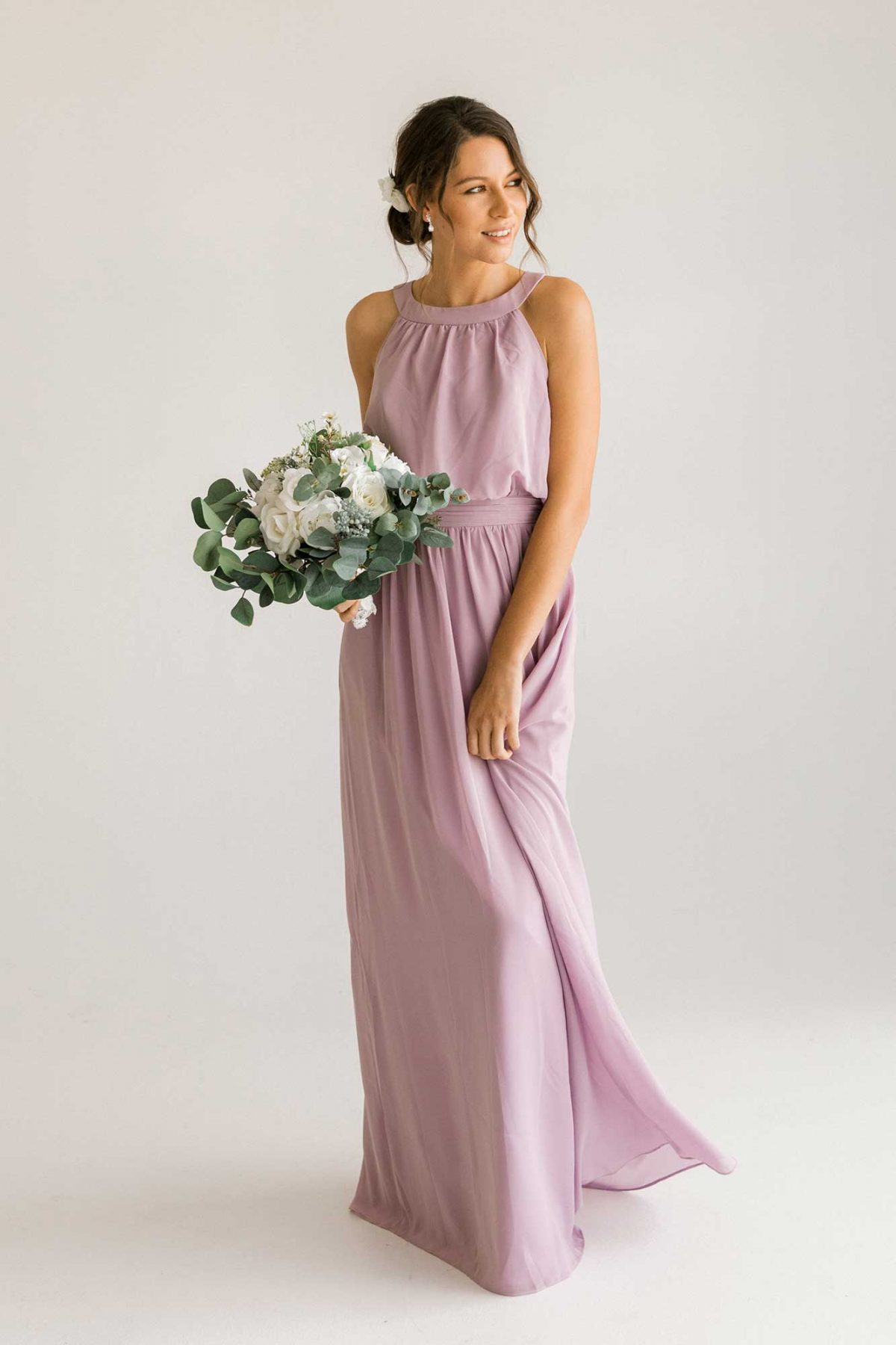 Cora dress in lilac colour side view