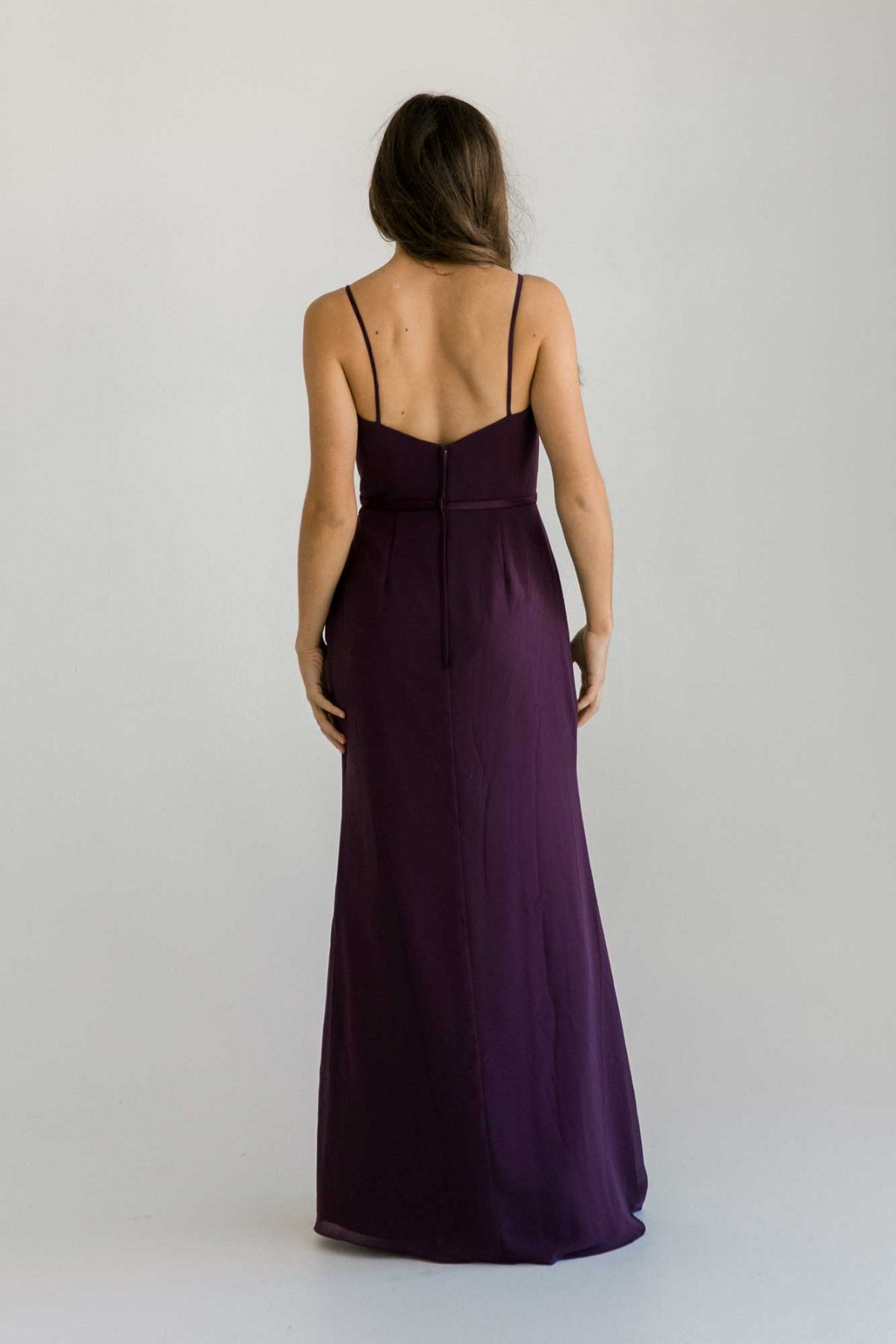 Luna dress in grape colour back view