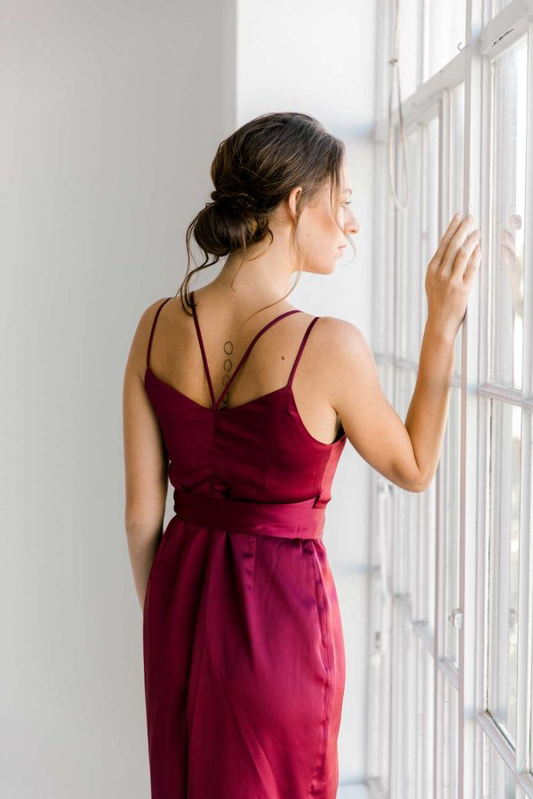 Anya dress in burgundy close back view