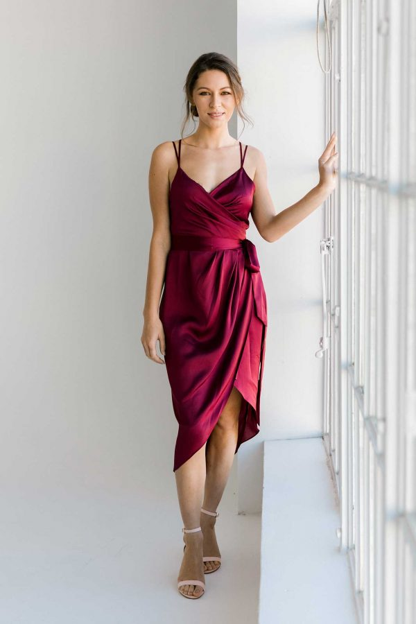 Anya dress in burgundy colour front view