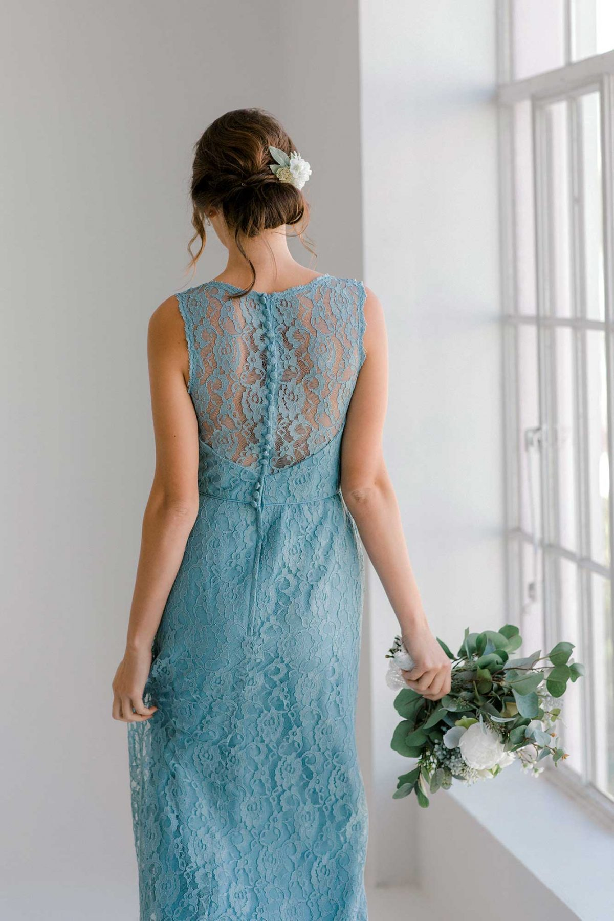 Maise lace dress in once upon a time colour back view