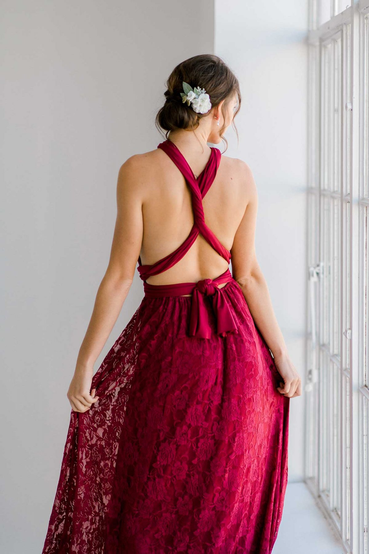 Cassandra dress in claret colour close back view