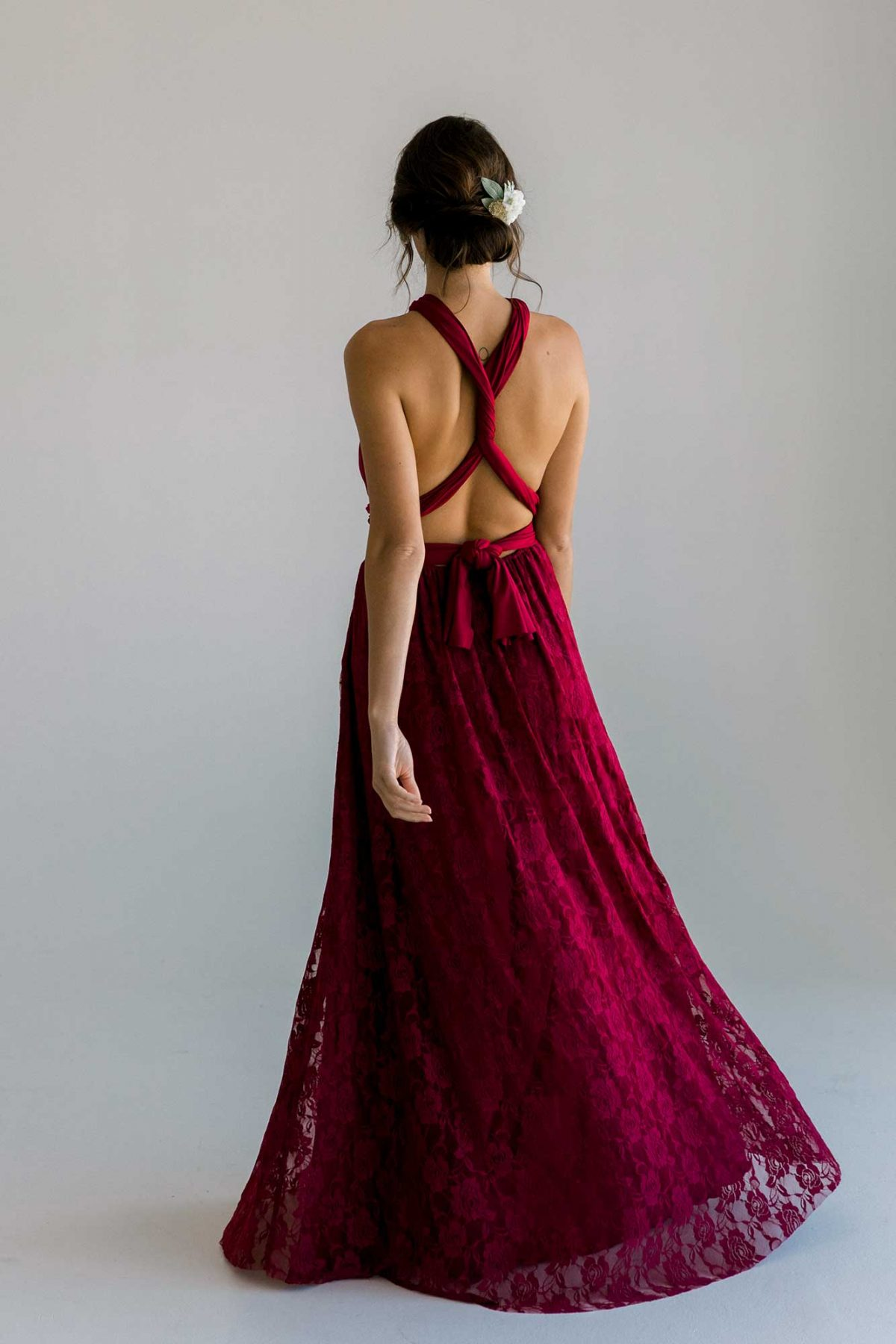 Cassandra dress in claret colour back view