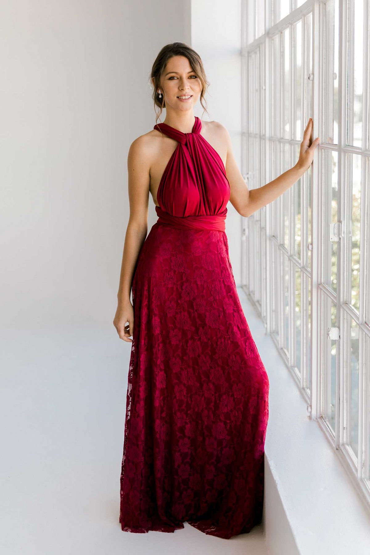 Cassandra dress in claret colour front view