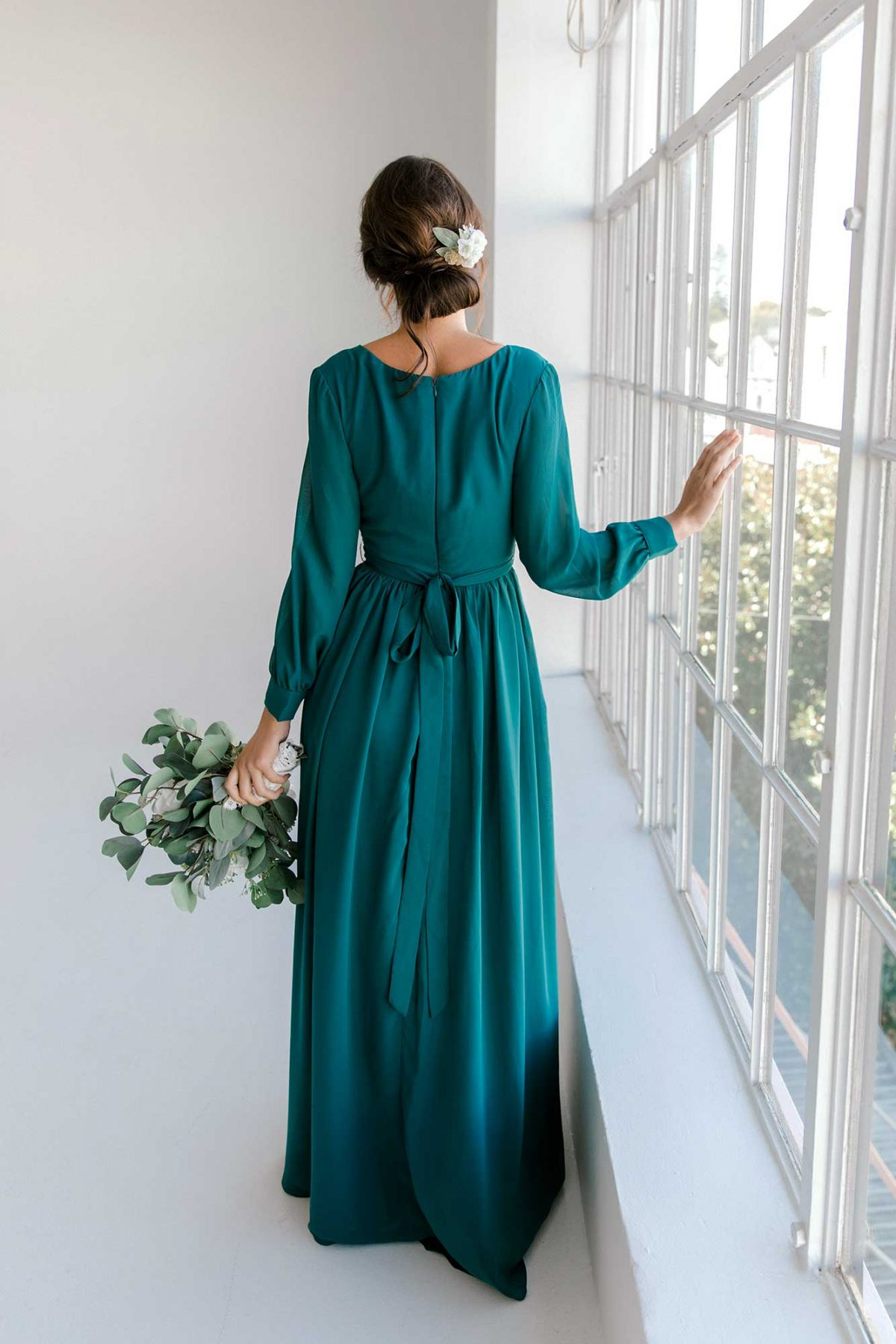Esther maxi dress in tealness colour back view