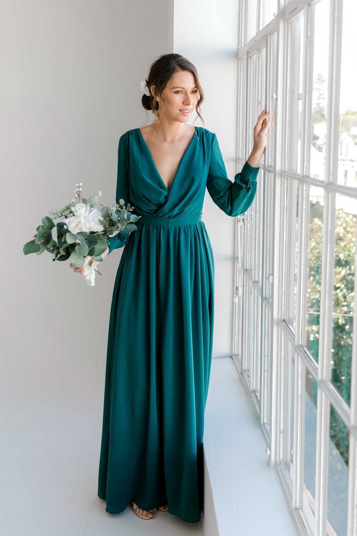 Esther maxi dress in tealness colour front view