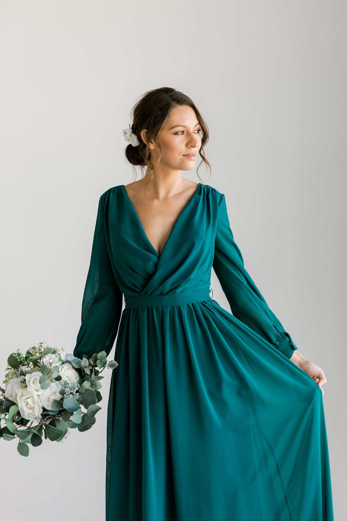 Esther maxi dress in tealness colour front view with flowers