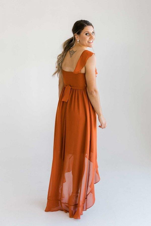 Gemma dress in burnt orange colour back view