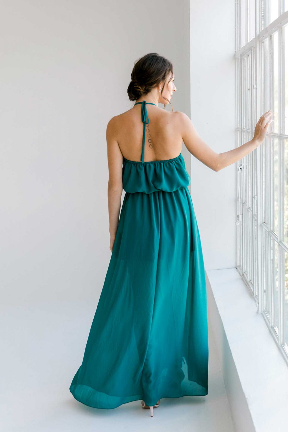 Ivy dress in tealness colour back view
