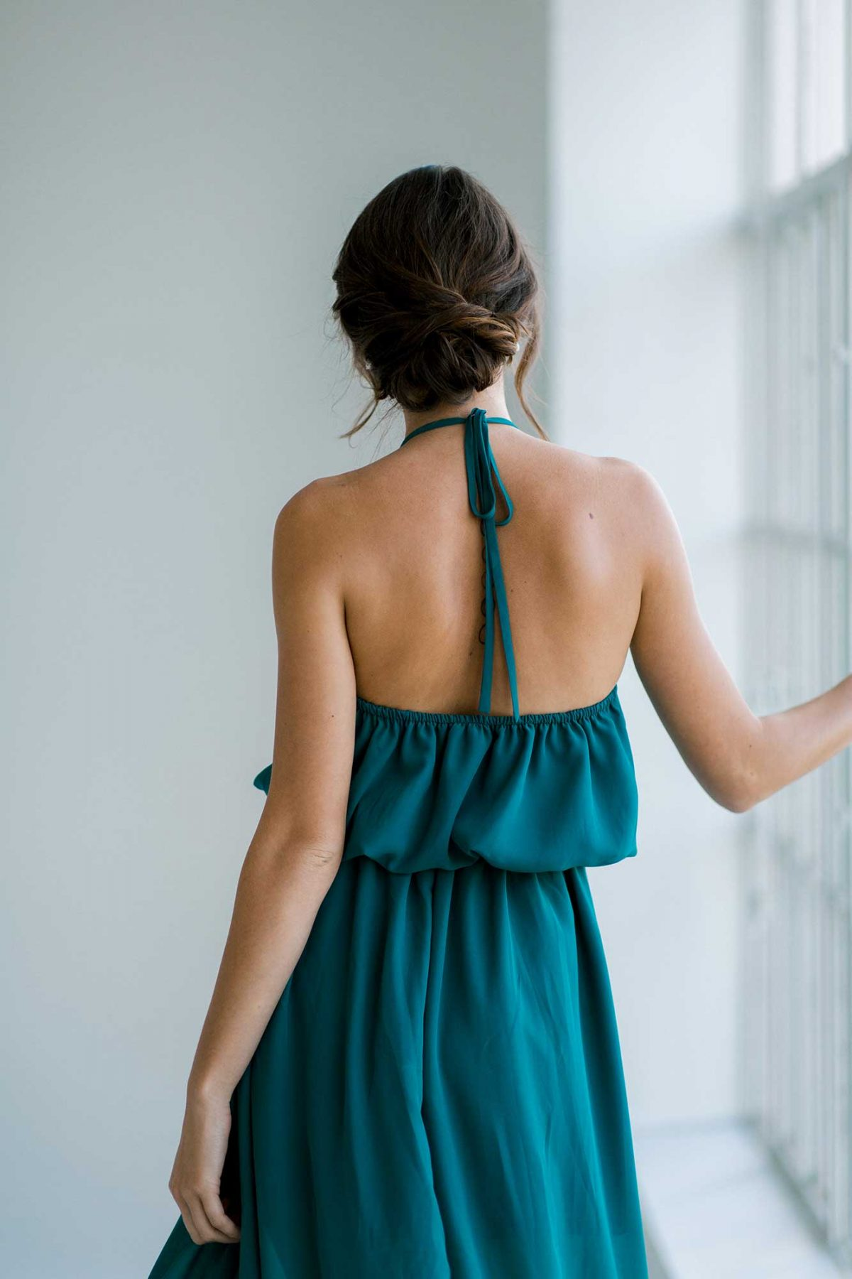 Ivy dress in tealness colour close back view
