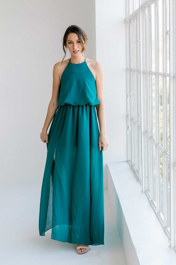 Ivy dress in tealness colour front view