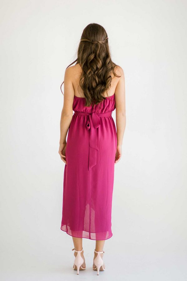 Maggie dress in raspberry colour back view