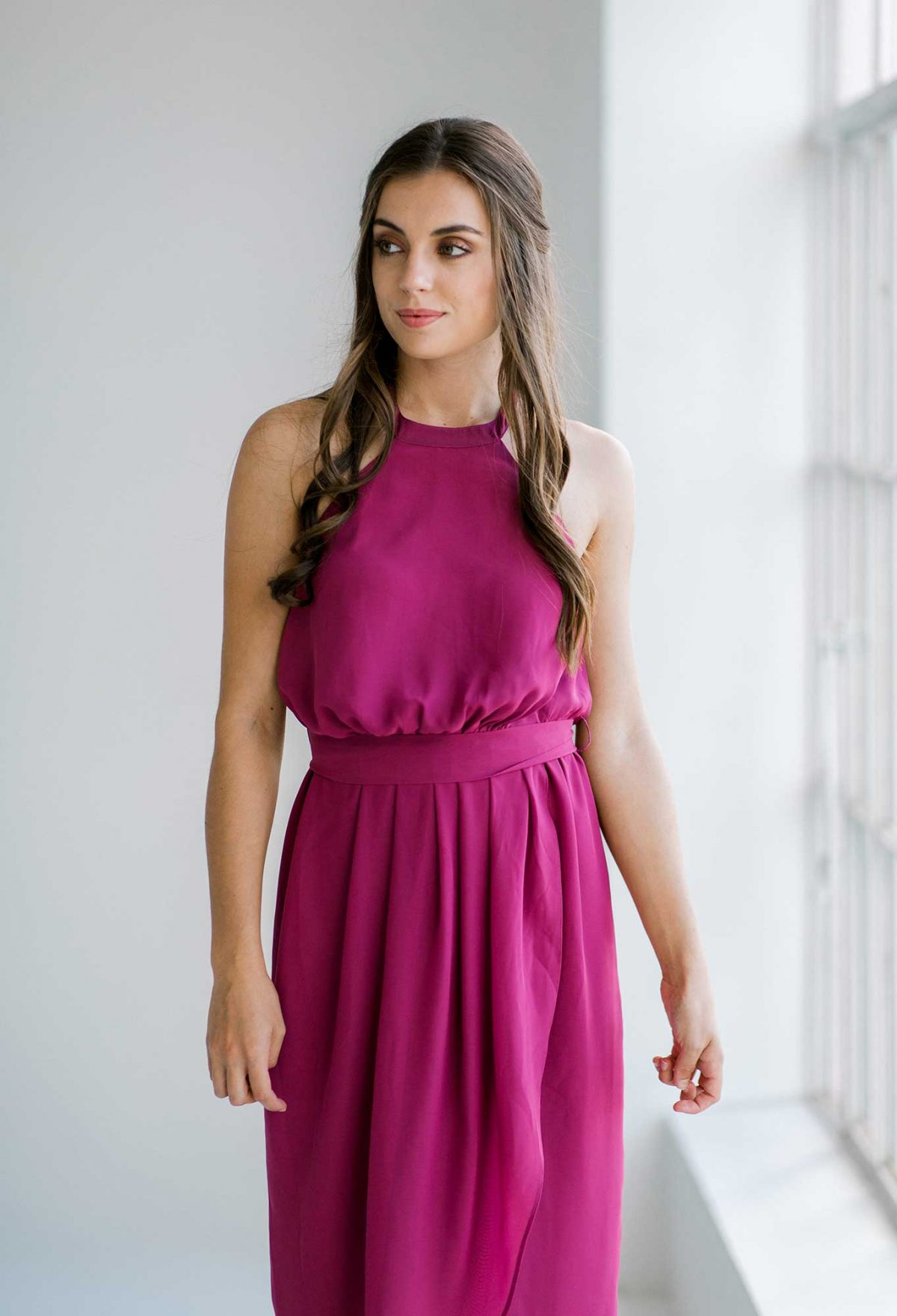 Maggie dress in raspberry colour close front view