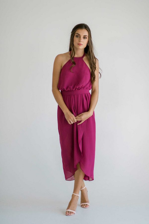 Maggie dress in raspberry colour front view