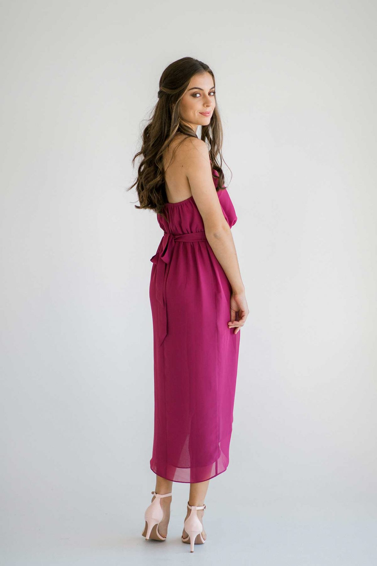 Maggie dress in raspberry colour side view