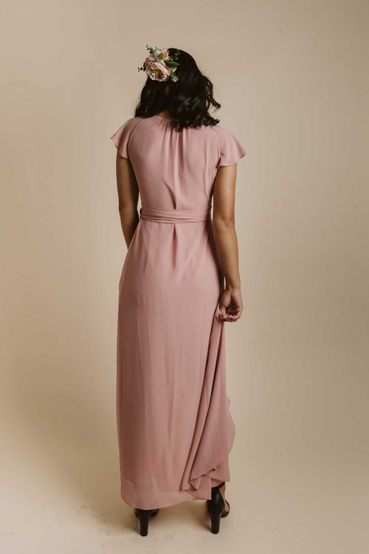 Marianne dress in dusty pink colour back view