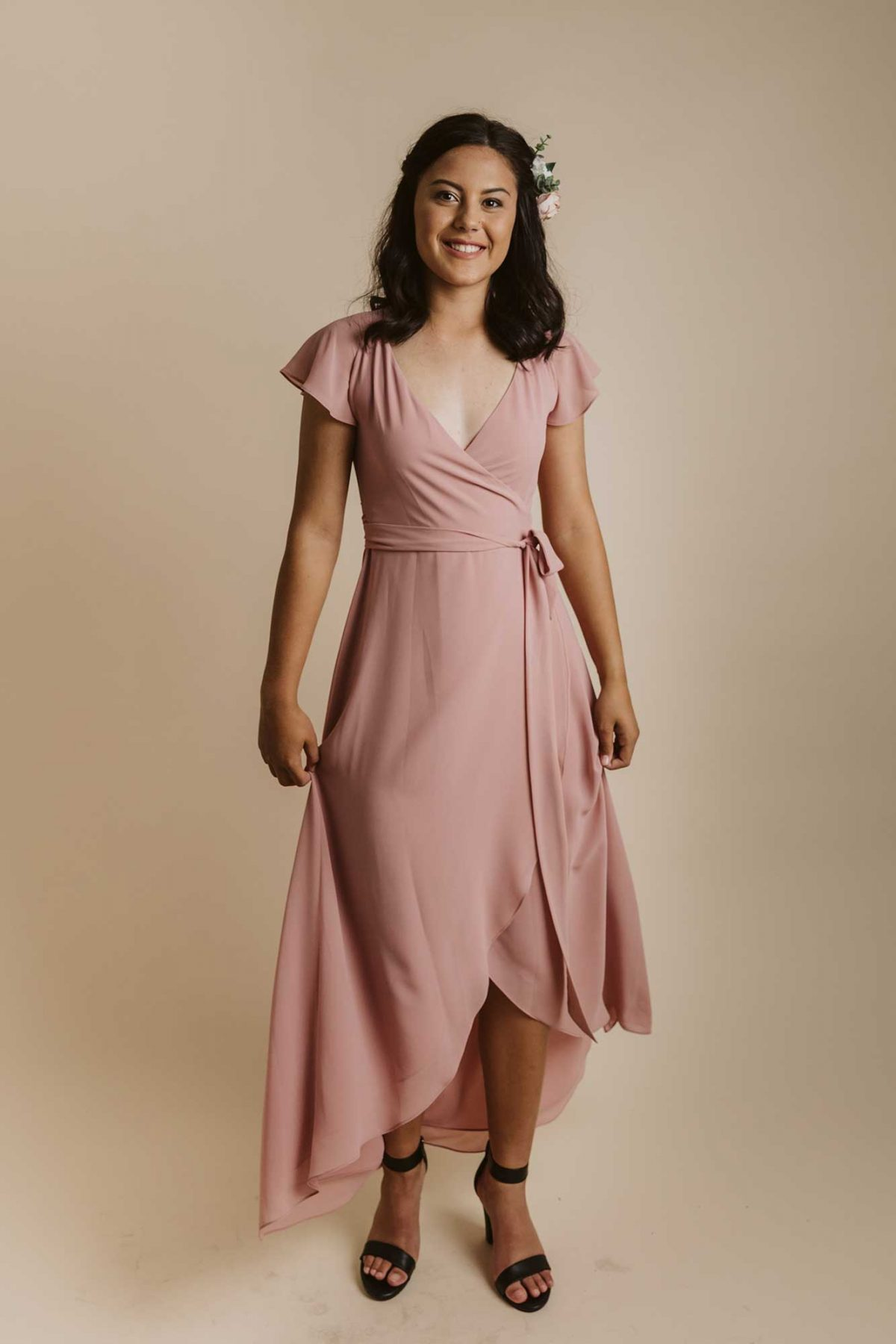 Marianna dress in dusty pink colour front view