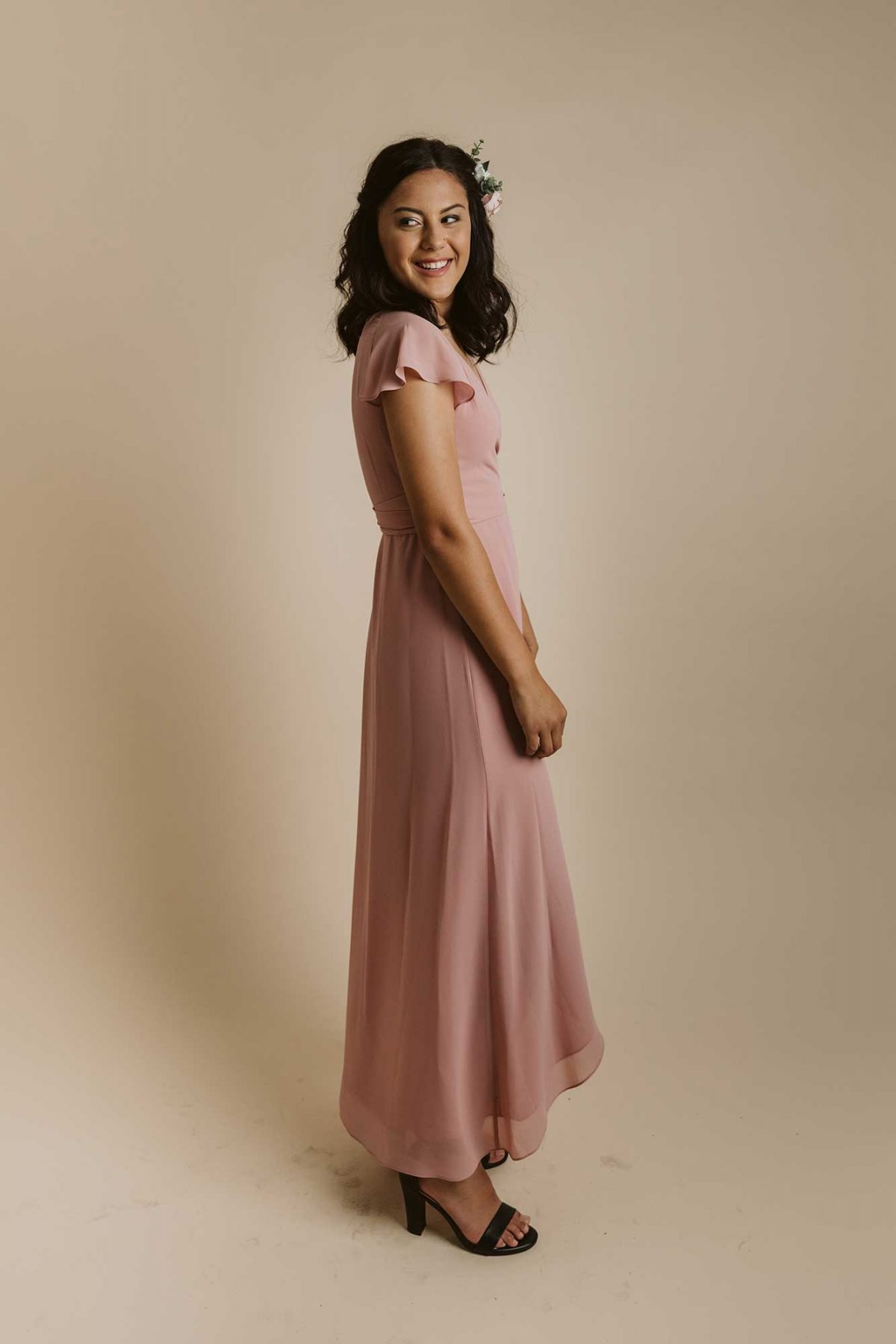Marianna dress in dusty pink colour side view