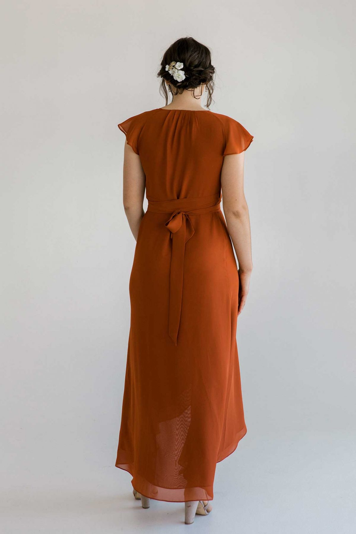 Marianne dress in burnt orange dress back view