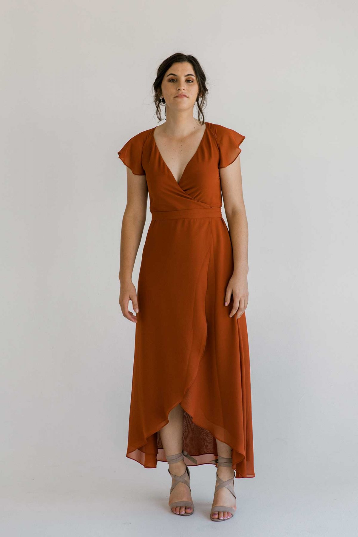 Marianne dress in burnt orange colour front view