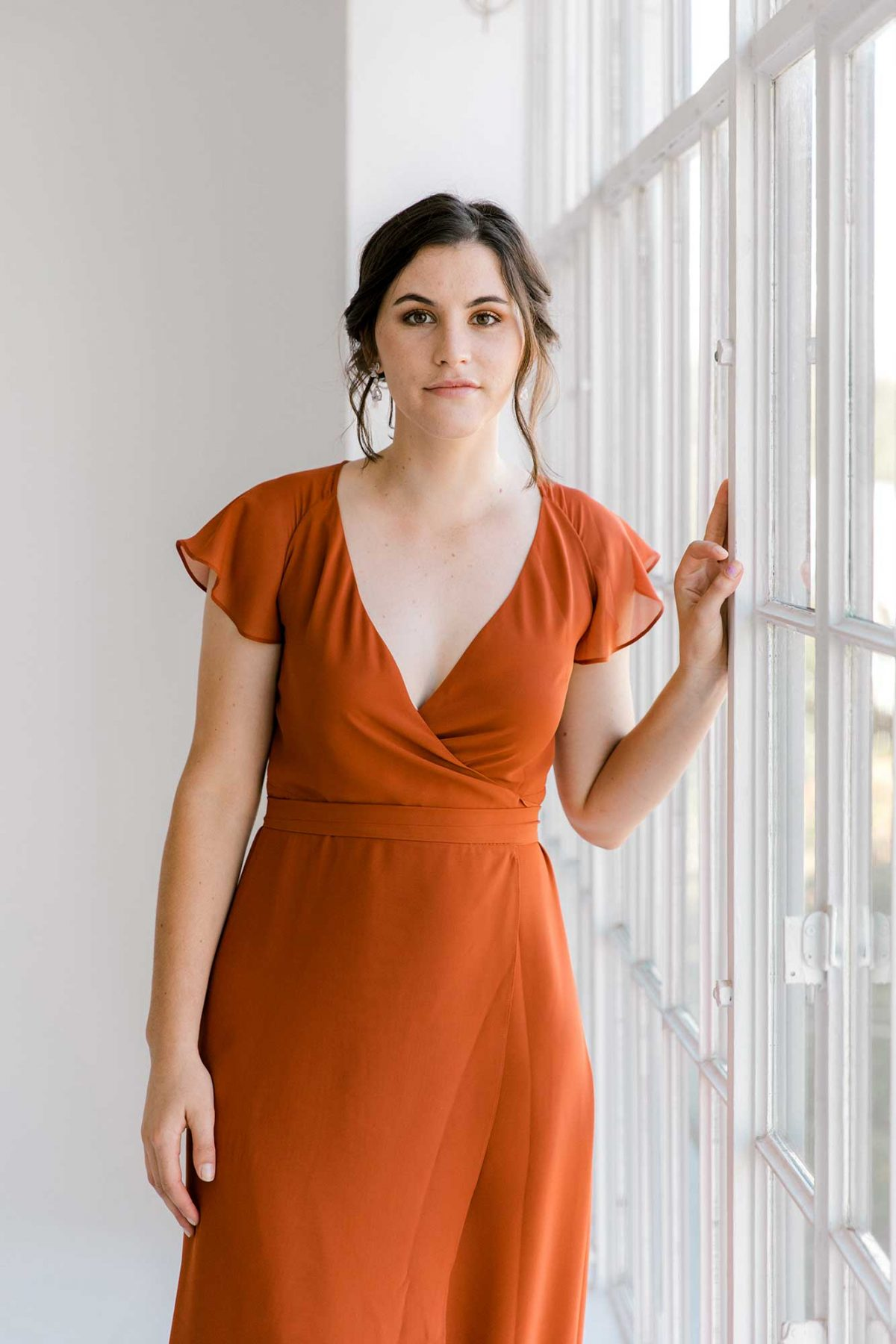 Marianne dress in burnt orange colour close front view