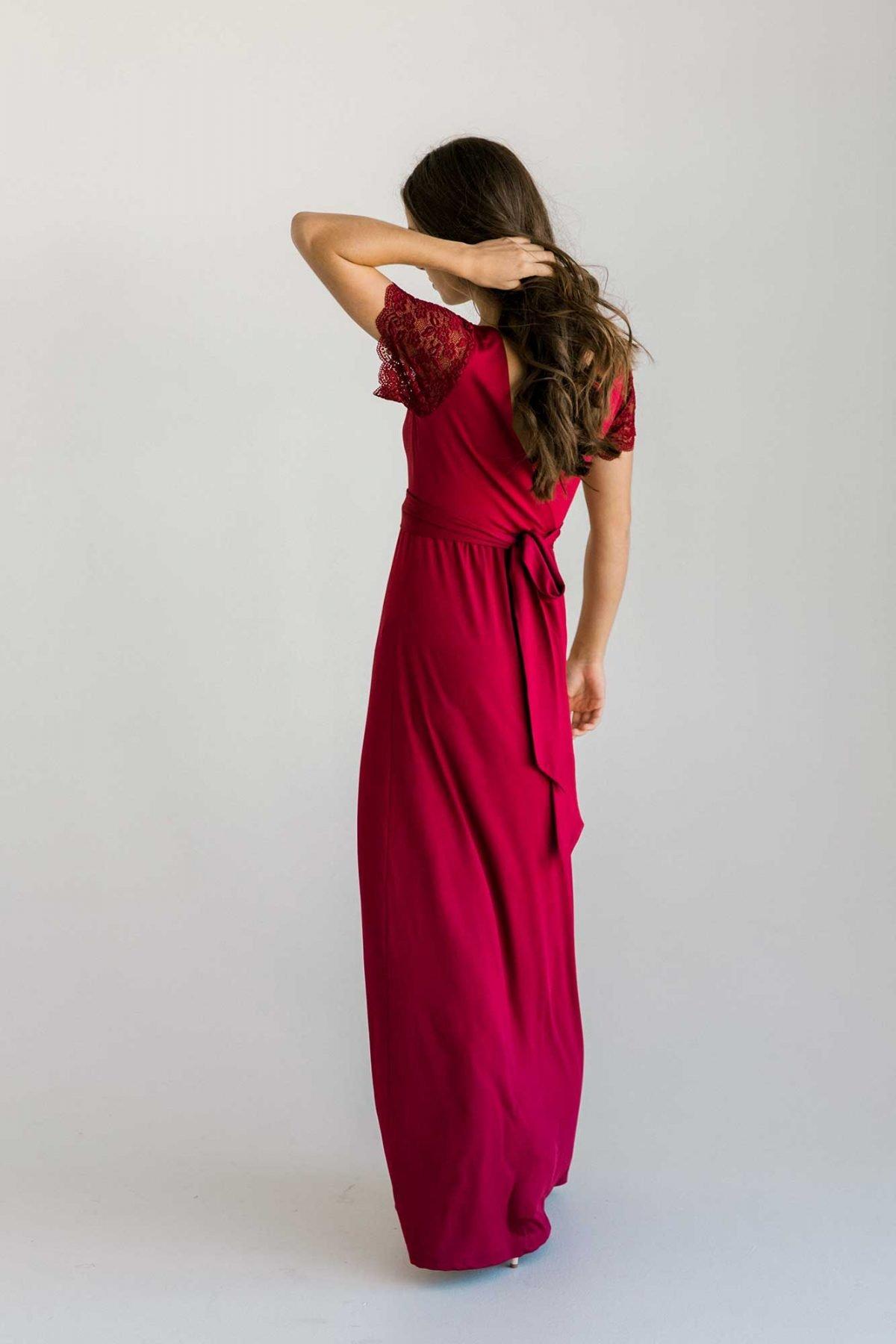 Rosetta dress in claret colour back view