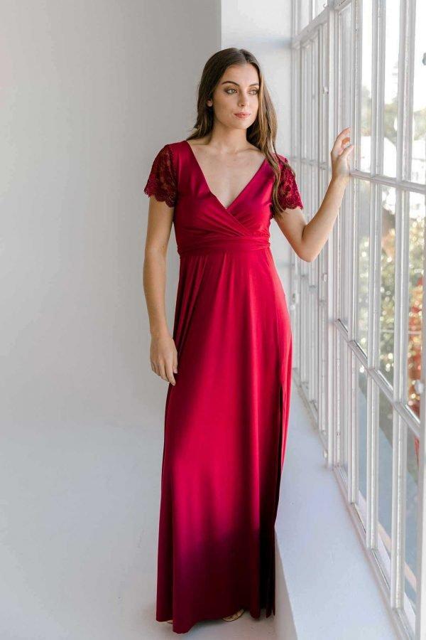 Rosetta maxi dress in claret colour front view