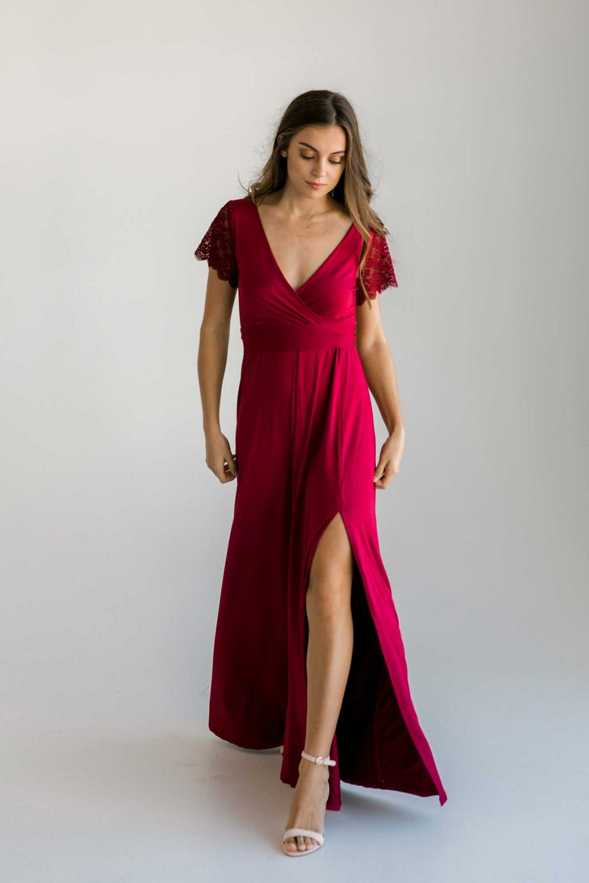 Rosetta dress in claret colour front view