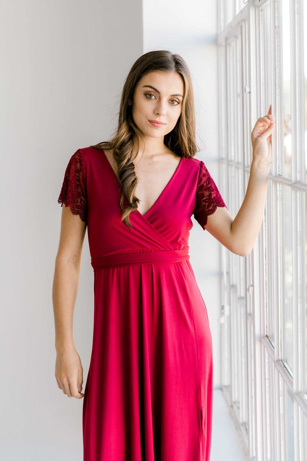 Rosetta dress in claret colour close front view