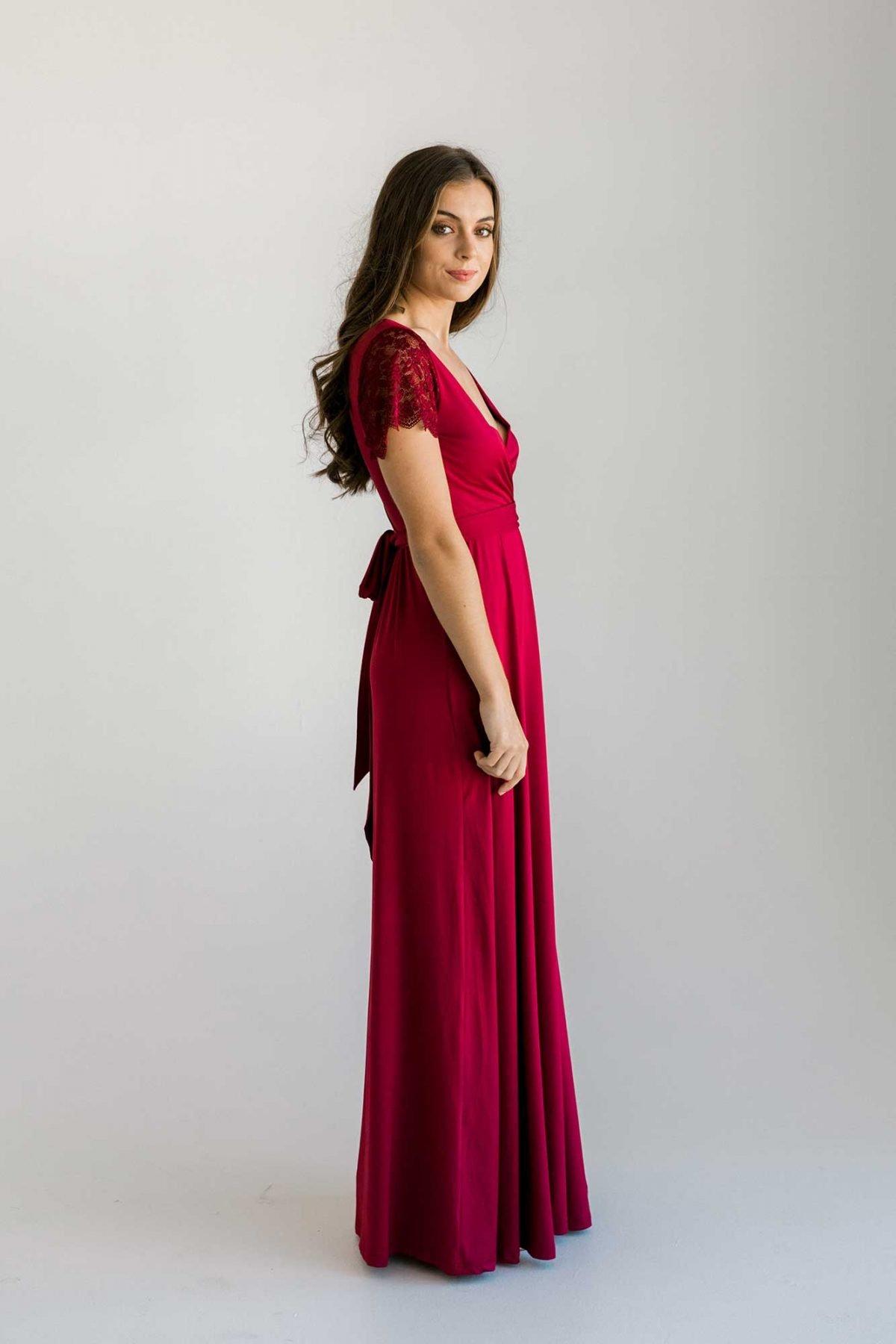 Rosetta dress in claret dress side view
