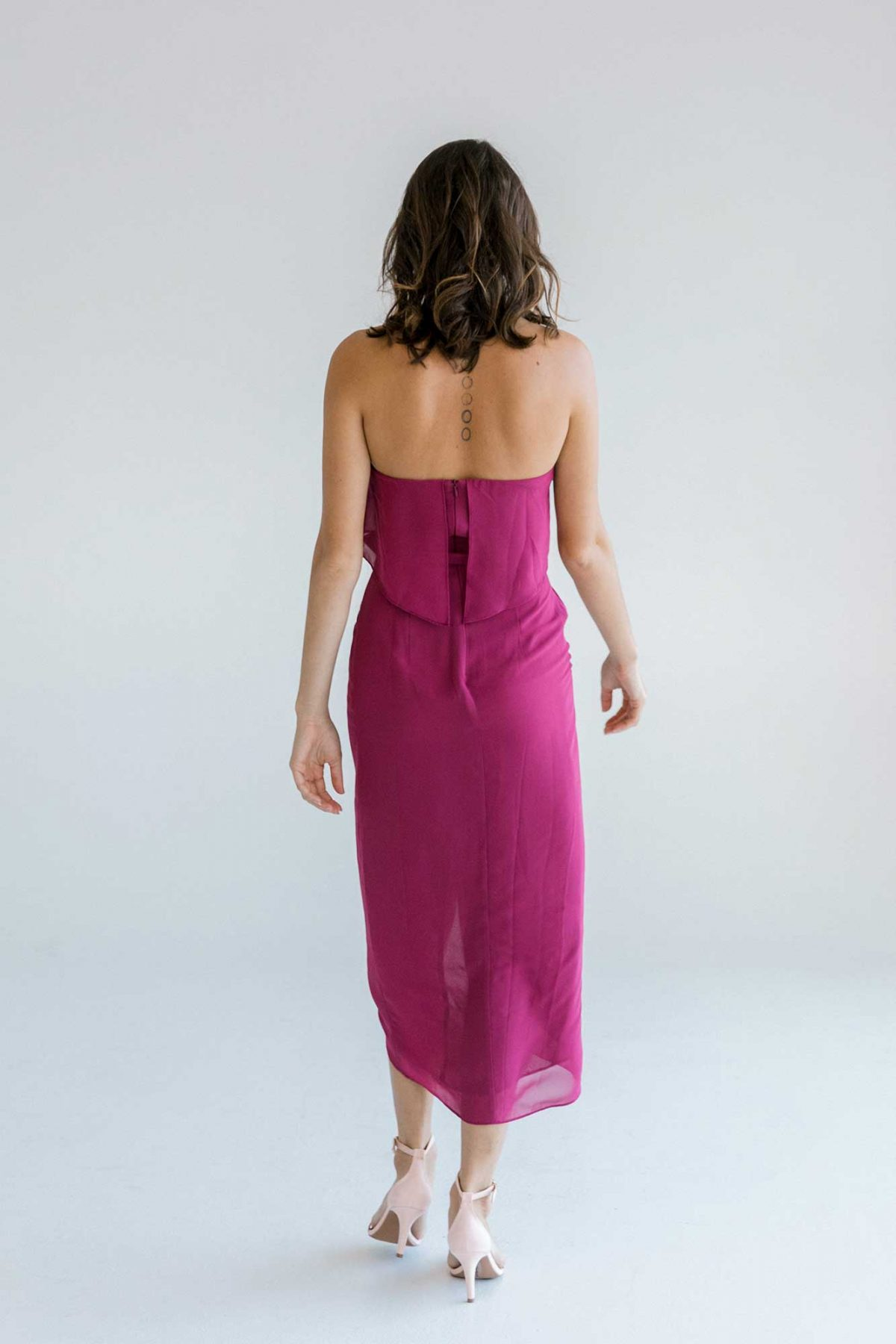 Sofia dress in raspberry colour back view