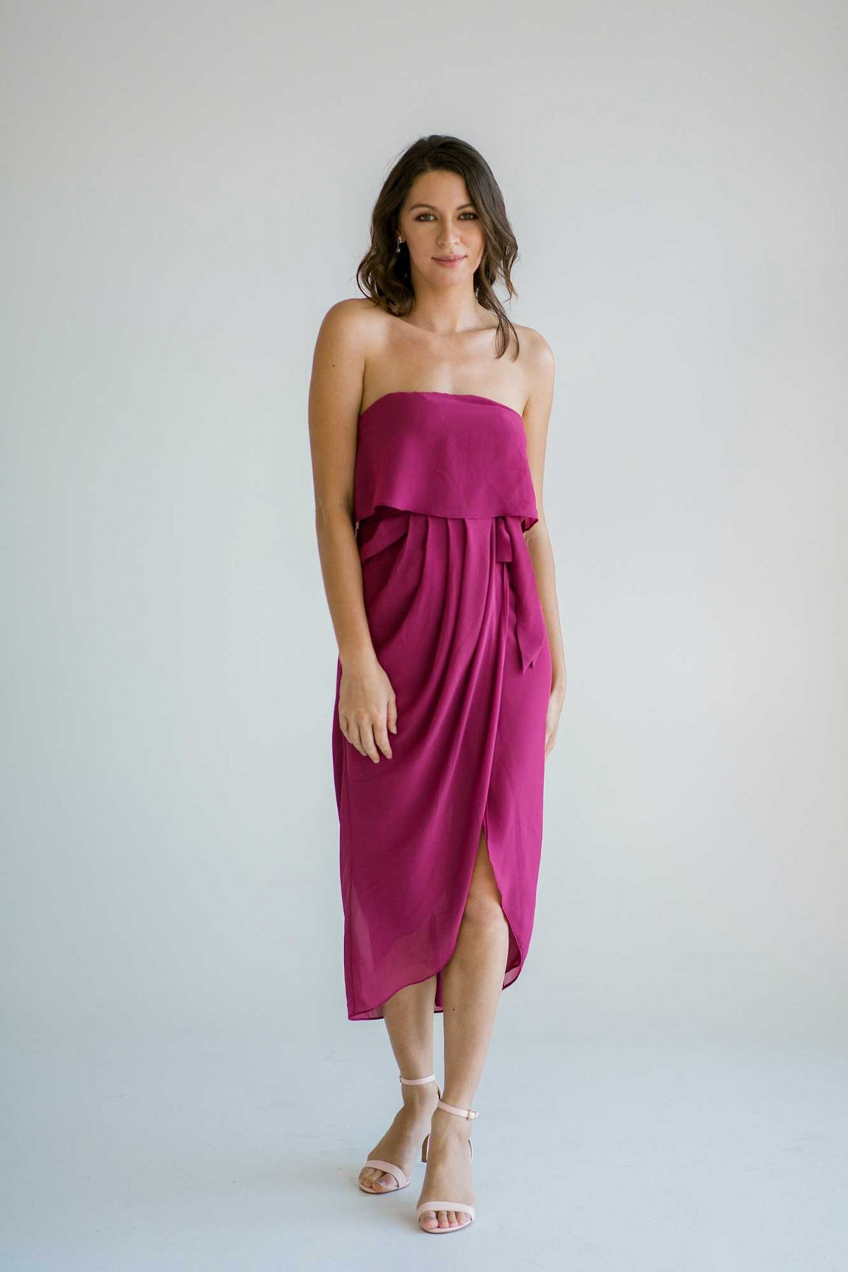 Sofia dress in raspberry colour front view