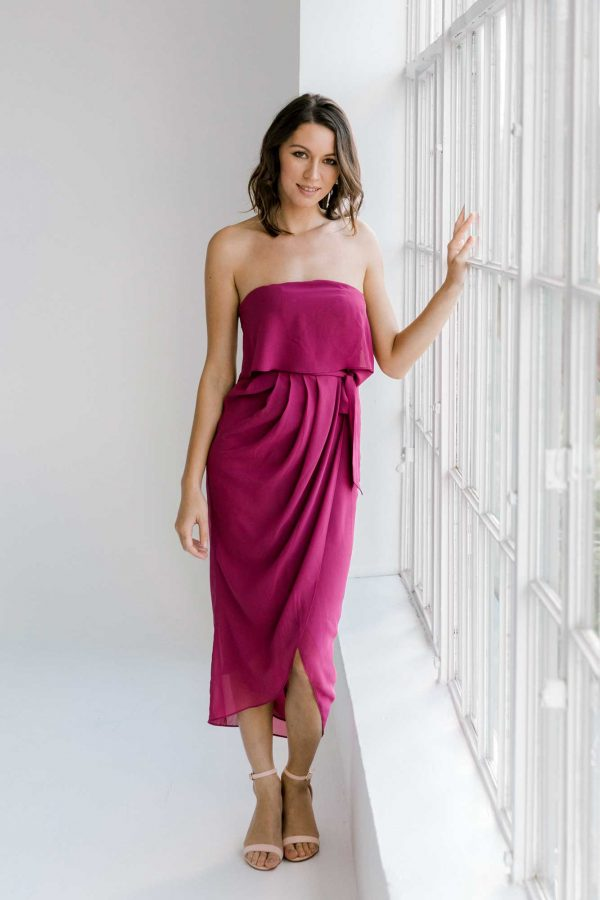 Sofia high-low dress in raspberry colour front view
