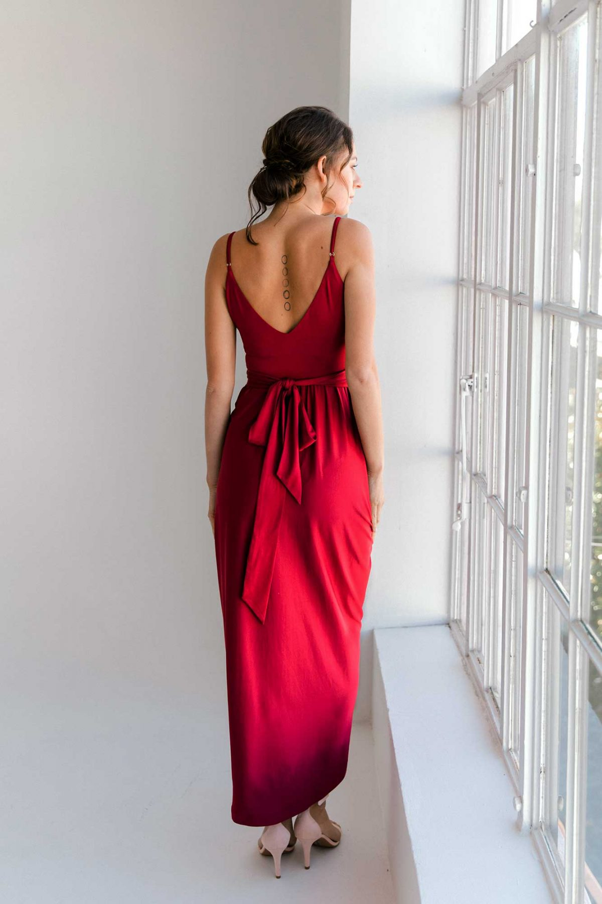 Claret high-low dress in claret colour back view