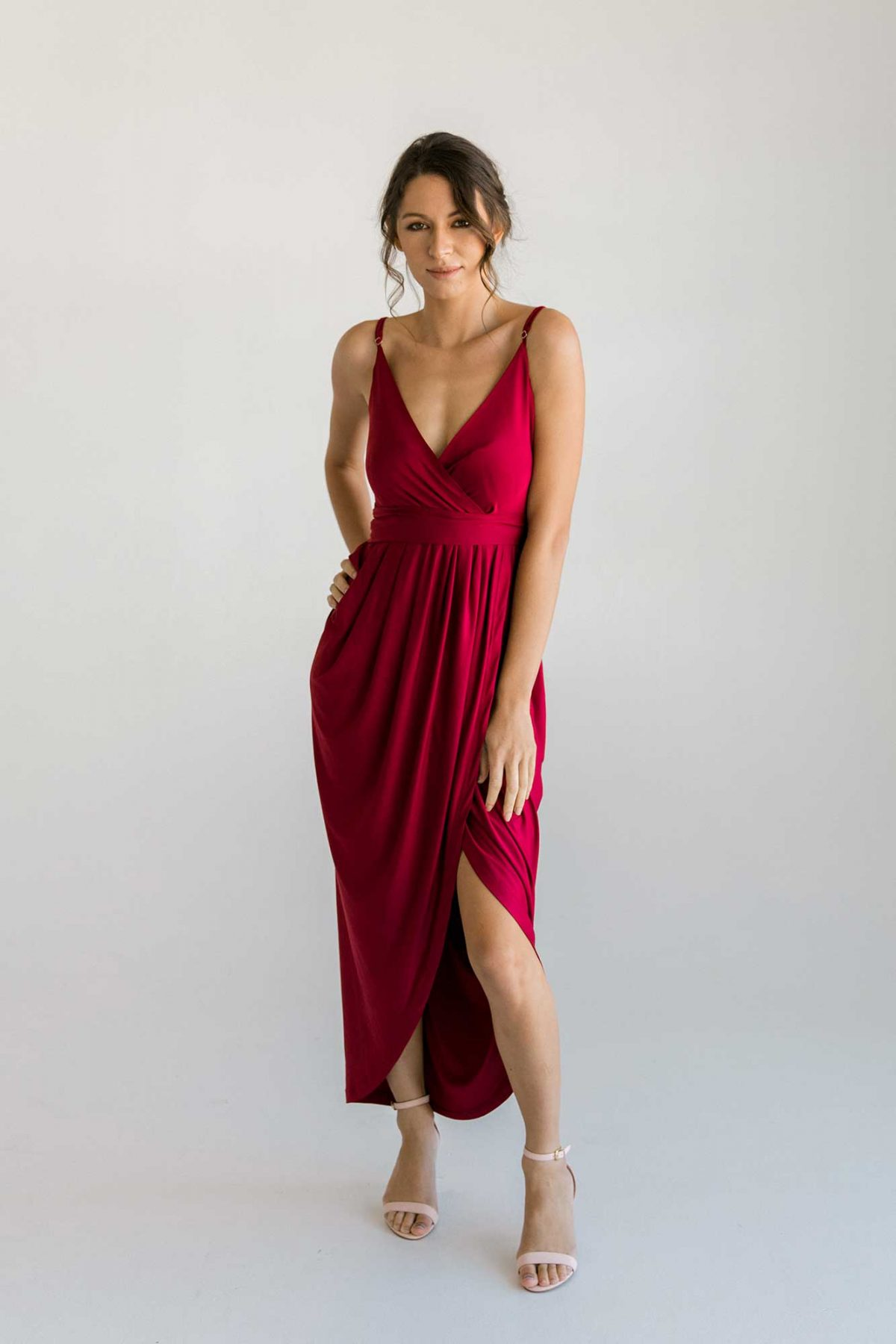 Claudia high-low dress in claret colour front view