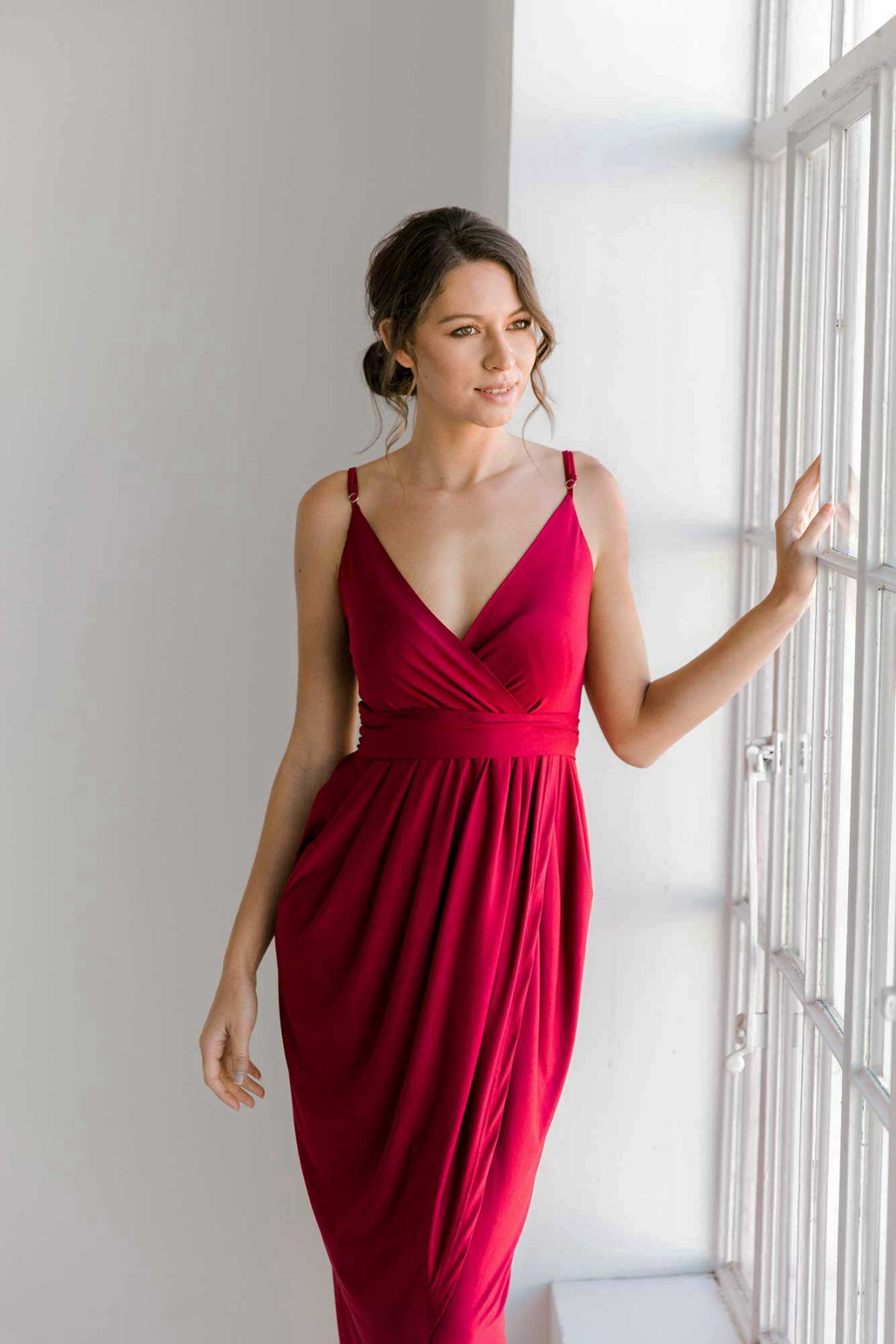 Claudia high-low dress in claret colour close front view