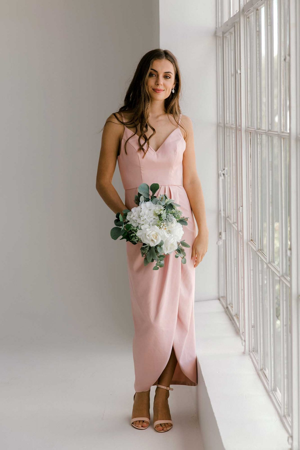 Diana high-low dress in blush colour front view