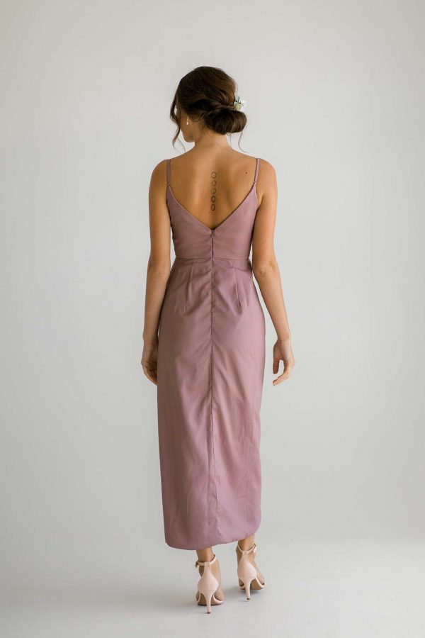 Diana high-low dress in dusty purple colour back view