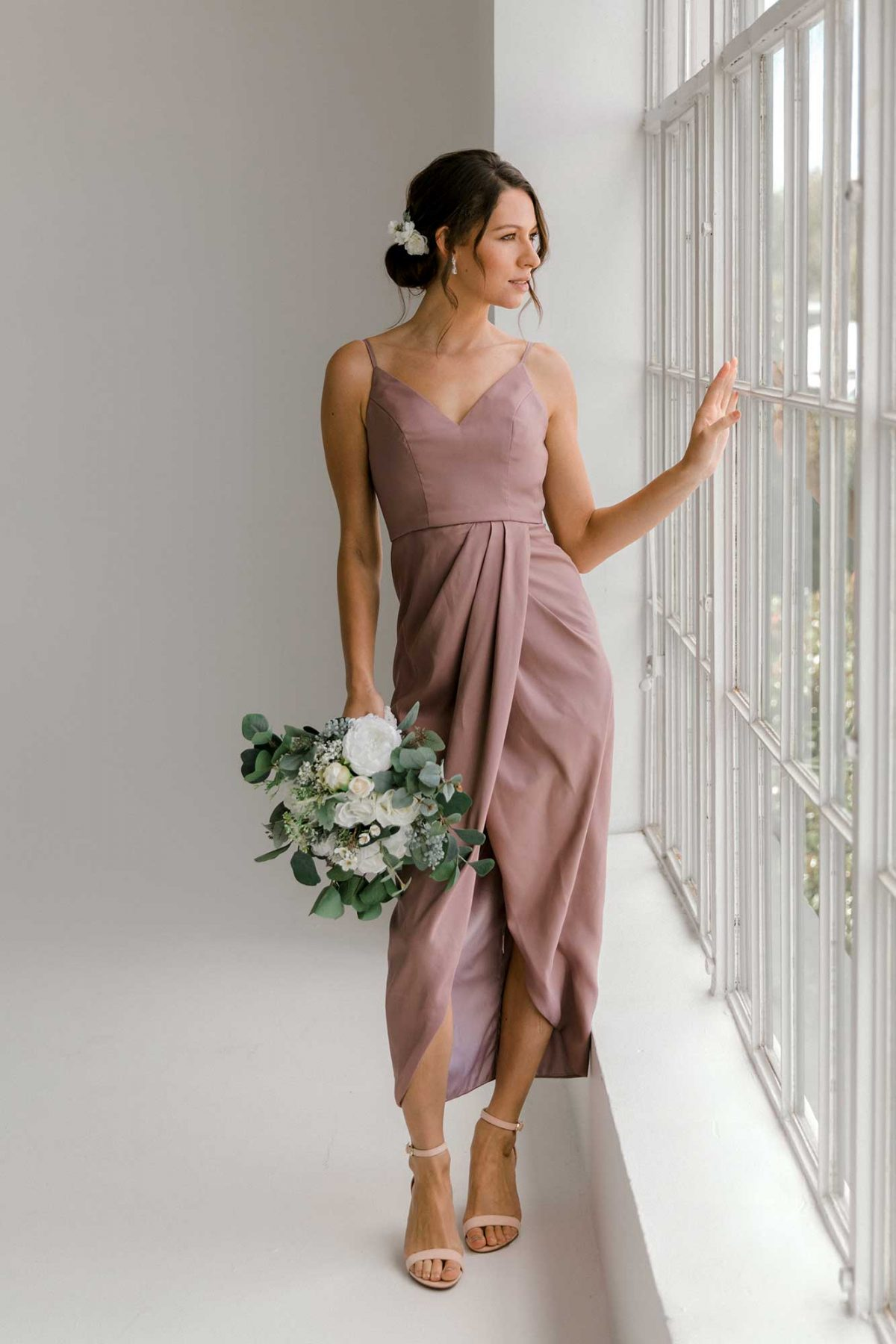 Diana high-low dress in dusty purple colour front view