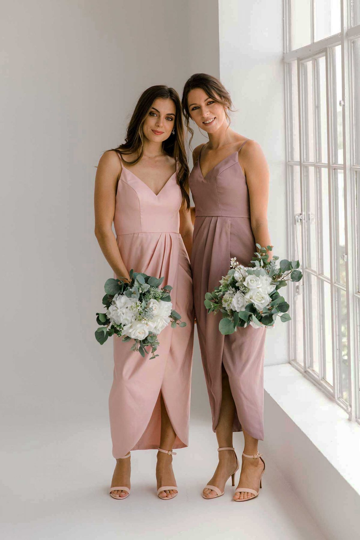 Diana dresses in dusty puple and blush colour front view